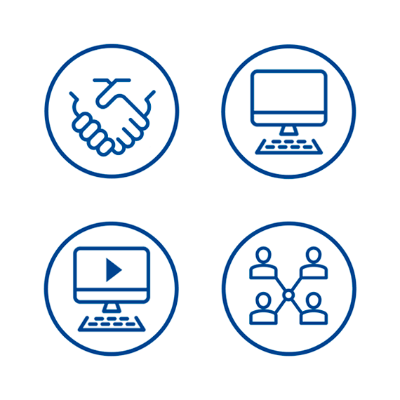 4 icons representing handshaking, computer, videos, and network.